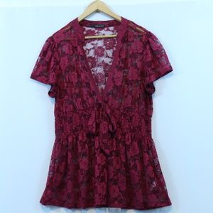 Maurices Burgundy Floral Lace Peplum Top